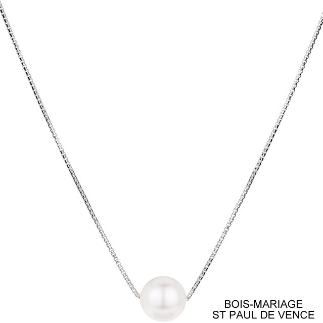 collier argent perle blanche